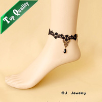 FL-23 Black vintage lace anklet belt gift accessories  Free Shipping Vintage Gothic vampire Lolita fashion Lace jewelery stock