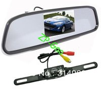 """4.3"""" Car LCD Mirror Monitor + IR Reverse Car Rear View Reversing Camera Kit with 5M cable Free Shipping"""