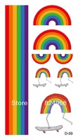 Free shipping fashion cool gradient and temporary tattoos rainbow of 10