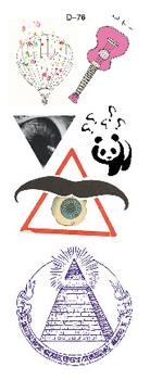 Hot air balloon guitar Panda beard eye temporary tattoo sticker