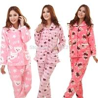 Winter medium-long cartoon coral fleece sleep set lounge set thickening sleepwear female