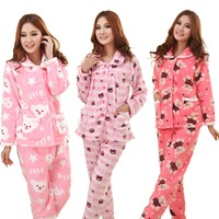 Winter medium-long cartoon coral fleece sleep set lounge set thickening sleepwear female