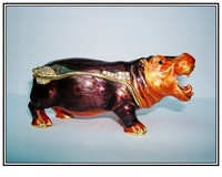 Free shipping retail hippo trinket jewelry box
