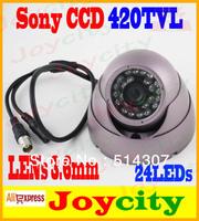 "CCTV Camera 1/3"" SONY CCD Dome Camera 420TVLs 3.6mm Lens 24 IR LEDs Night Day Free Shipping Joycity"
