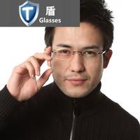 Rimless eyeglasses frame myopia male quality glasses frame titanium alloy eye box lens