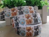 2013 new arrival 7/8''  22mm lovely cat goldfish printed grosgrain ribbon cartoon ribbon animal ribbons 10 yards