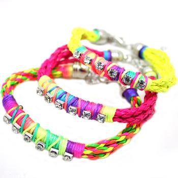 Free shipping ~2014 new cheap items charm bracelet neon color bracelet crystals 6pcs/lot wholesale B2-187