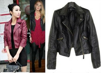 New Women's Zipper PU Leather Jacket Lady Coat Outerwear 908