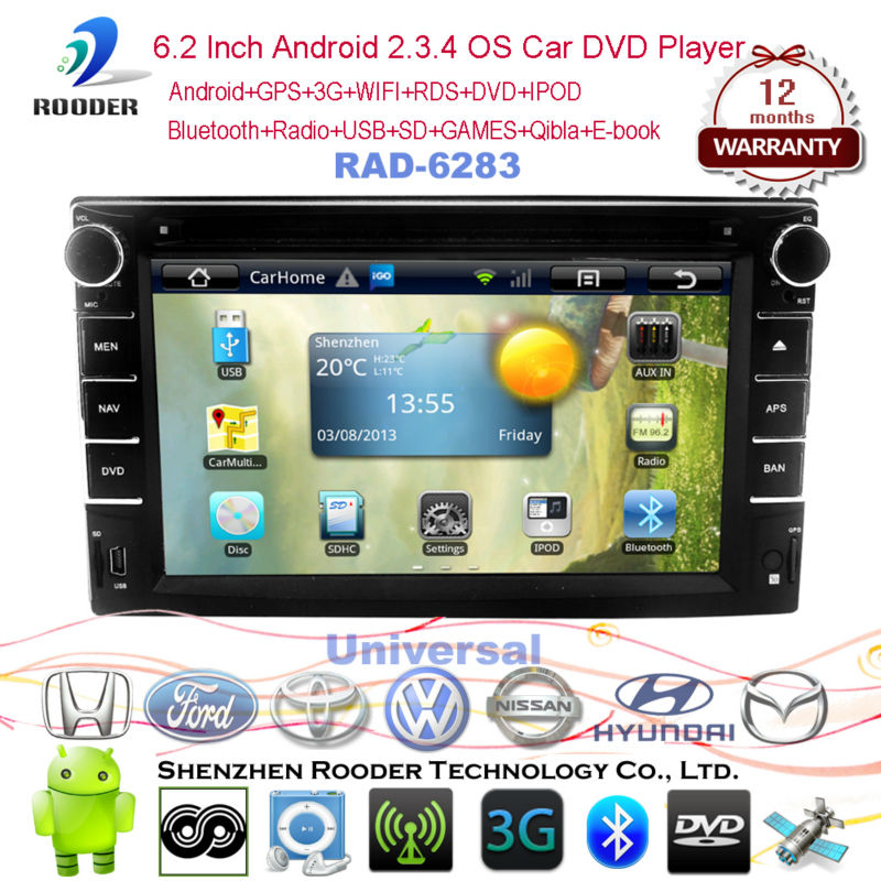 Android Car DVD GPS Navigation with 512M RAM ,WIFI,Radio,BT,IPOD+(Optional DVB-T/ATSC,3G ,Canbus)+Free shipping,AD-6283(China (Mainland))