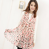 Free Shipping !2014 NEW Style! Generous Fashion Sweet  Multicolor Heart  Prevent Bask in Women's Chiffon Scarf,S-016