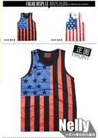2013 Quality Men's Trendy USA Flag Hip Hop Soft Tank Top, Casual Cotton O-neck Vest T-shirt Black/White