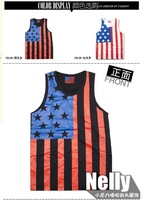 2013 Quality Men's Trendy USA Flag Hip Hop Soft Tank Top, Casual Cotton O-neck Vest T-shirt Black/White