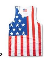 hiphop fashion casual men Tank Tops Tank Tops hiphop trukfit Tank Tops U.S. flag vest 100% Cotton