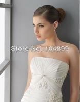 Hot Elegant Strapless A-line Court Applique Chiffon Weeding dress custom made Evening DressSize 2 4 6 8 10 12 14 16 18 20