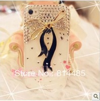10pcs diamond bling bow ribbon hard back shin cover for iphone 5 5s case generation Rhinestone cell phone shell