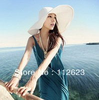 Hot Fashion Women's Hat Foldable Wide Large Brim Floppy Summer Beach Sun Straw Cap Free Shipping