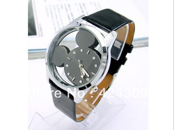 Free shipping, Mickey Mouse Watches, Double-sided Glass Mirror, Watches Fashion Watches, Delicate and, Transparent Watch(China (Mainland))