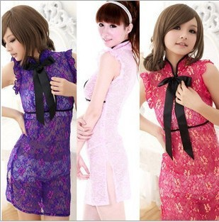 Free shipping China improved Rose cheongsam installed sexy lingerie lace sexy transparent suit sauna Photography installed