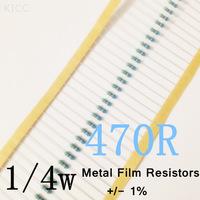 1/4W 470 ohm +/- 1% resistor 1/4w 470R ohm Metal Film Resistors / 0.25W color ring resistance (200Pcs/Lot)