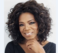 Ladies17 Inch Short Oprah Style Wigs Fashion Africa Deep Wave Synthtic KANEKALON Wigs Free Shipping Beauty Product  Full Wigs