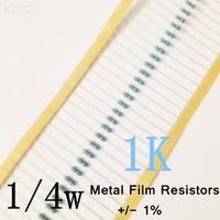 1/4W 1k ohm +/- 1% resistor 1/4w 1K ohm Metal Film Resistors / 0.25W color ring resistance (200Pcs/Lot)