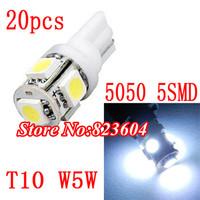 Xenon White T10 Wedge 5-SMD 5050 LED Light bulbs 192 168 194 W5W 2825 158