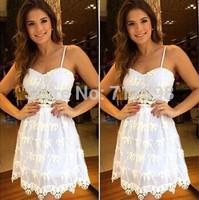 vestidos casual 2014 femininas white lace mesh women dress vestido de festa desigual casual dress sexy dress