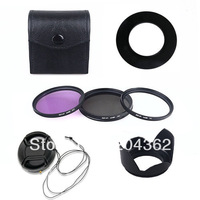 wholesale  hot 58MM UV CPL FLD Filter Kit + Lens Hood & Cap For for Canon EOS 450D 500D 600D 1100D LF65