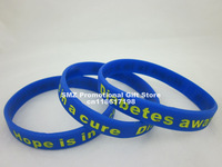 Diabetes Awareness wristband, Hope is in a cure Filled in colour silicon bracelet, 100pcs/lot, free shipping