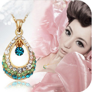 Min.order is $10 (mix order), European and American style, hollow Rhinestone Drop Necklace (blue), factory direct sales, cheap,(China (Mainland))