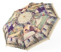 Free shipping Fashion canvas umbrellas Monet's series paintings Automatic umbrella Umbrellas TS02