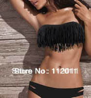 Free Shipping, 2013 6 Color Design Sexy Women's Swimsuit Beachwear Bikini Set Padded Fringe Top Strapless Size S M L.