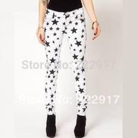 White and black high-elastic Women casual pants denim design slim pencil trousers 6 full