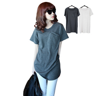 2014 New fashion casual women plus size L XL XXL XXXL cotton short sleeve deep gray navy tee t shirt