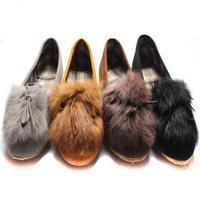 single shoes rabbit fur women's shoes spring loafers boat shoes ladle shoes cow muscle flat heel flat outsole women flats 40
