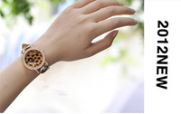 FREE DHL SHIPPING 50PCS Gogoey Brown Leopard grain Leather Quartz Wrist Watch ladies Women dress watch Crystal