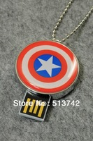 4GB 8GB 16GB 32GB Captain America Shield USB 2.0 Flash Memory Pen Drive Stick 100% Full Capacity Free Shipping