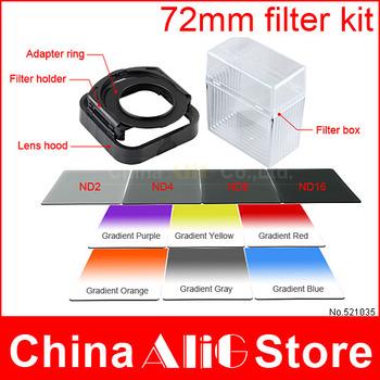 14in1 camera lens filter kit 72mm adapter ring lens hood nd 2/4/8/16 gradient filter bag box for 600d 650d 700d 1200d 100d 1100d