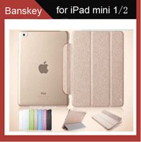 New Gold Silk Ultra-slim PU Leather Smart Cover +Matte Back Cover Case for iPad mini 2 with Retina Display,Fits iPad mini 2/1