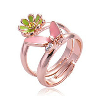 Unique Cute Pink Ring Flower Butterfly 2 Rings of One Set, Lover rings 027
