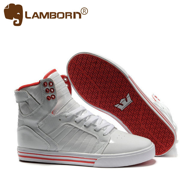 2013 New Fashion Mens Skateboarding Shoes Design Brand Athletic Shoes for Men White Leather Red platform Flat heel Free Shipping(China (Mainland))