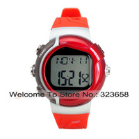Free Shipping New Stylish Sporty Pulse Heart Rate Monitor Calories Counter Watch Fitness Watch-Shallow orange