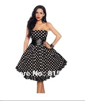 Black White Polka Dot Satin 50's 60's Rockabilly Dress PIN UP Swing DRESS XS S M L XL XXL 3XL 4XL