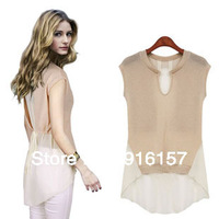 S-XL free shipping Manufacturer supply new Women's love chiffon blouse with asymetric style fashion Sleeveless shirts with belt