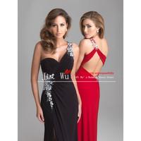 2014 New Fashion Custom Made Cheap One-shoulder Chiffon Mermaid Prom Dress/Party Dress vestido de festa