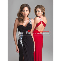 Free Shipping 2014 New Fashion Custom Made Cheap One-shoulder Chiffon Mermaid Prom Dress/Party Dress vestido de festa