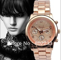 2013 fashion alloy metal band Geneva watches Stainless Steel Men Men's quartz watch Gift watch with 4 colors