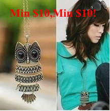 Min $10 fashion accessories vintage owl long necklace long vintage necklace for women pendant necklace(China (Mainland))