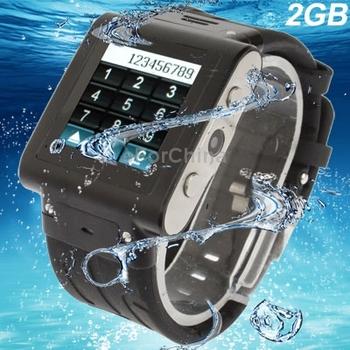 W838 Black, Waterproof GSM Touch Screen Wrist Watch Phone with HD Camera, JAVA FM Bluetooth Quad band,  Waterproof Grade: IP67