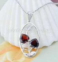Garnet pendant Free shipping Necklace pendant Natural garnet 925 sterling silver Double love heart style Red gems Retail